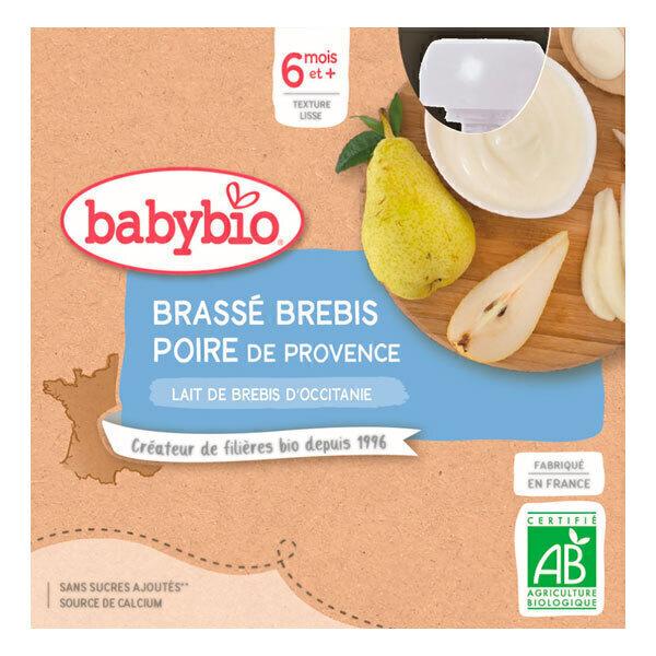 Babybio - Gourde brassée au lait de brebis et poire 4 x 85g - Dès 6 mois