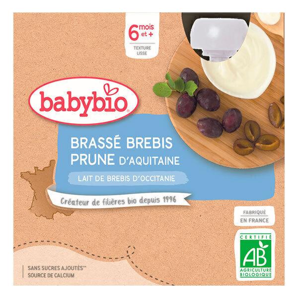 Babybio - Gourde brassée au lait de brebis et prune 4 x 85g - Dès 6 mois