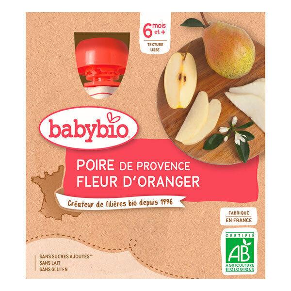 Babybio - Gourde poire de Provence et fleur d'Oranger 4 x 90g - Dès 6 moi