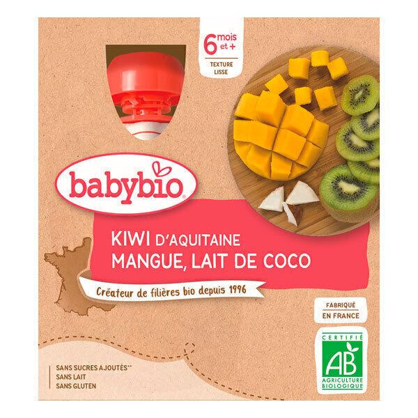 Babybio - Gourdes kiwi, mangue et lait de coco 4 x 90g - Dès 6 mois