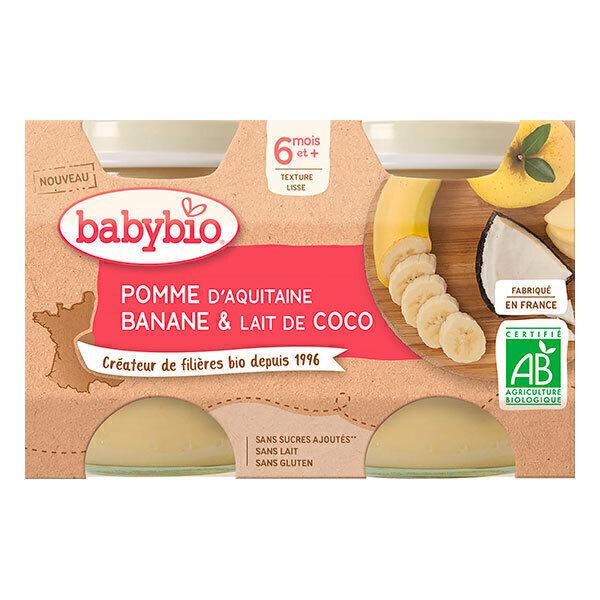 Babybio - Petits pots à la pomme d'Aquitaine, banane et lait coco 2x130g