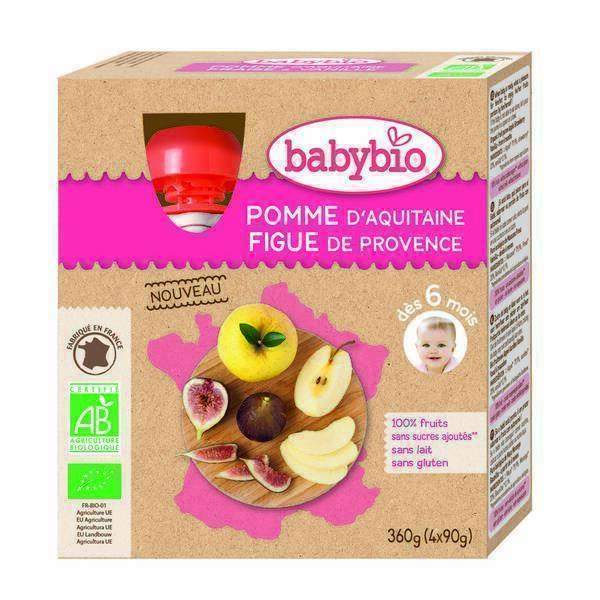 Babybio - Gourde à la pomme d'Aquitaine et figue de Provence 4x90g