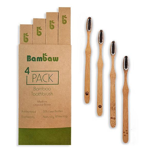 Bambaw - Pack de 4 brosses à dents en bambou