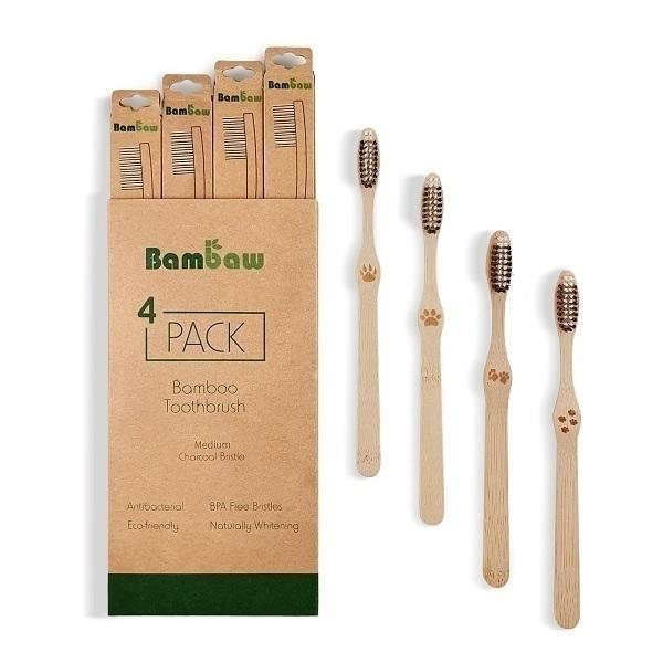 Bambaw - Pack de 4 brosses à dents en bambou Moyen