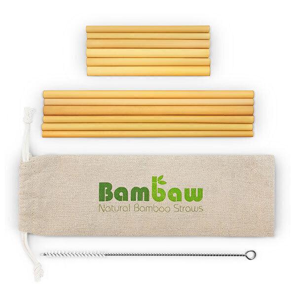 Bambaw - Set de 12 pailles en bambou 14cm et 22cm