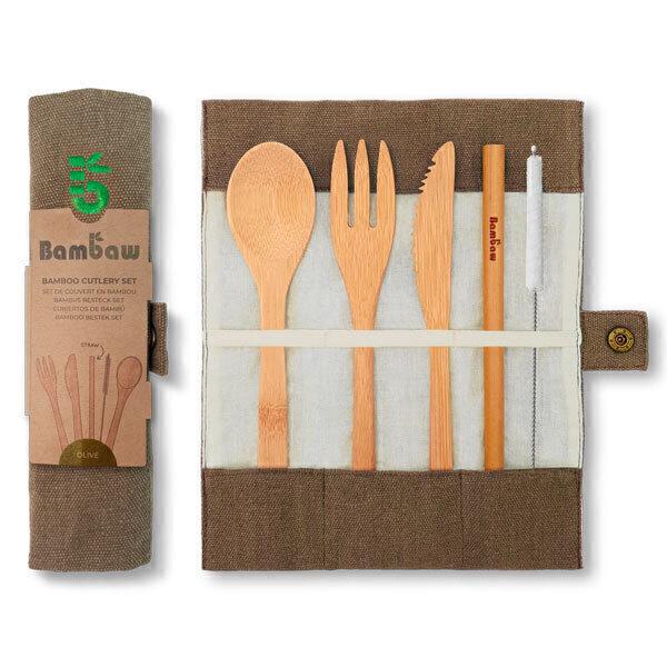 Bambaw - Set de couverts réutilisables en bambou Olive