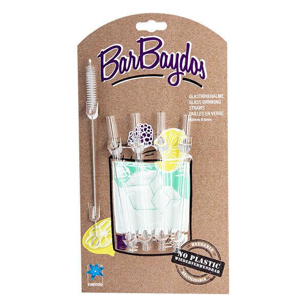 BarBaydos - Set de 4 pailles droites en verre 15cm