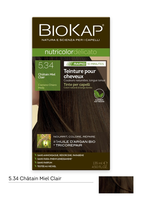 Biokap - Coloration Nutricolor Rapid 5.34 Châtain miel clair 135ml