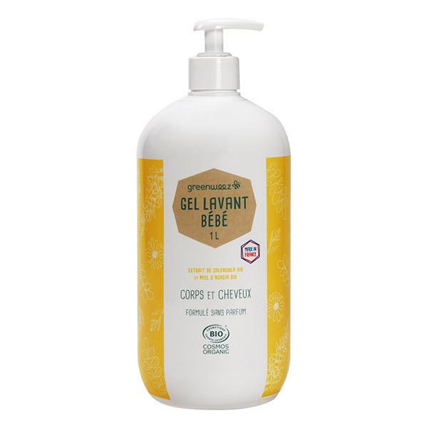 Greenweez - Gel lavant bio bébé au miel et calendula sans sulfate 1L