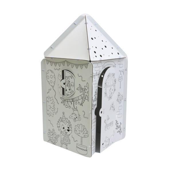 Kabaka - Cabane en carton illustrée Tétragone toit triangle- Dès 3 ans