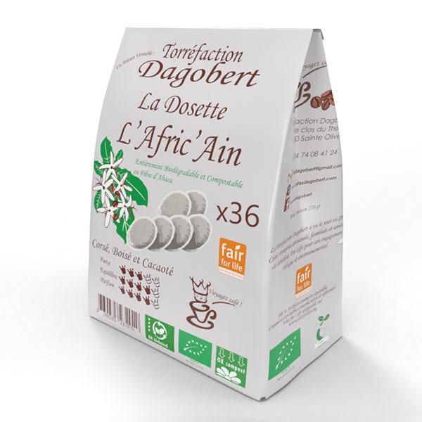 Les cafés Dagobert - Café dosette bio Afric'ain x 36