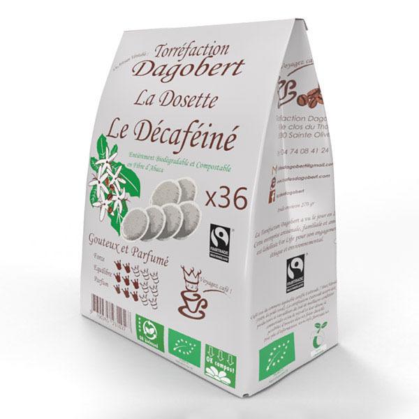 Les cafés Dagobert - Café dosette bio Décaféiné x 36