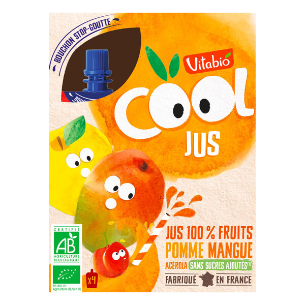 Vitabio - Cool Fruits Jus de pomme, mangue, acérola 4x105ml