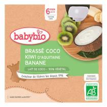 Babybio - Gourde brassées au lait de coco kiwi banane dès 6 mois - 4x85g
