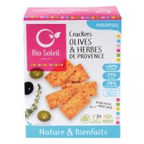 Bio Soleil - Crackers nature & bienfaits Olives et herbes de Provence 100g
