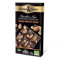 Saveurs & Nature - Tablette chocolat noir 70% noisettes, amandes, raisins secs 100g