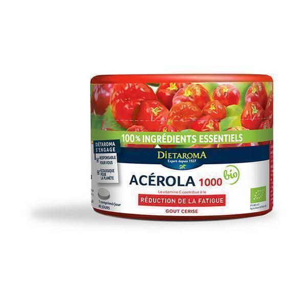 Dietaroma - Acerola 1000 gout cerise pilulier - 60 comprimes