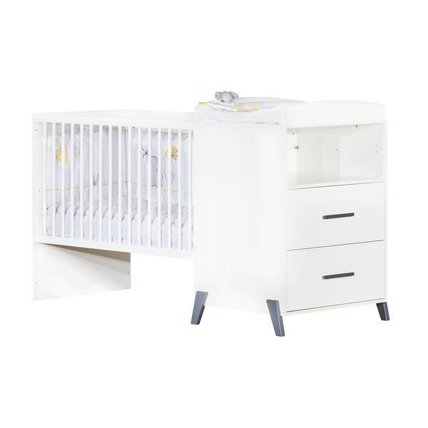 Baby Price - Lit combiné Joy 120x60cm évolutif en 90x190cm Gris