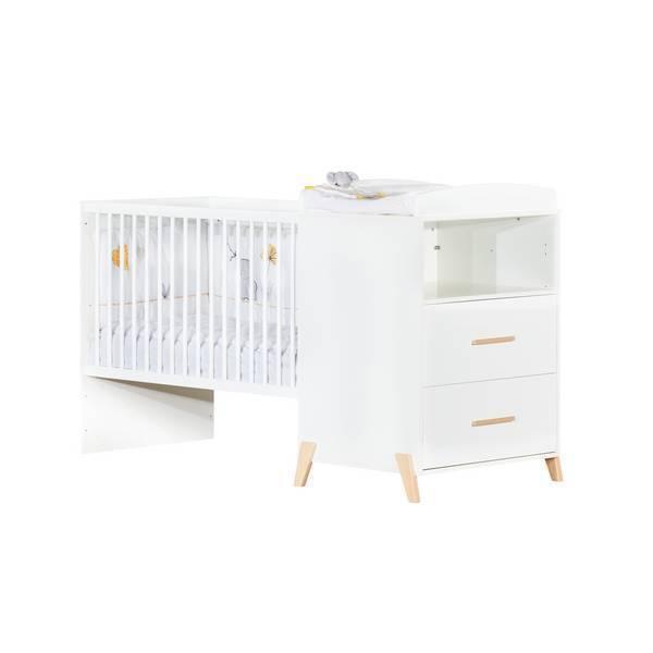 Baby Price - Lit combiné Joy 120x60cm évolutif en 90x190cm Naturel