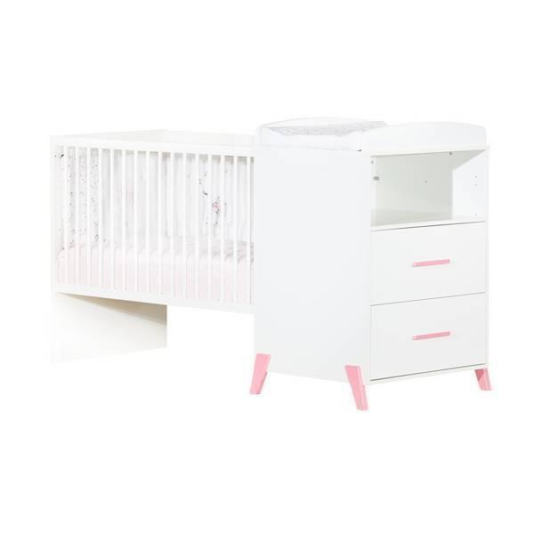 Baby Price - Lit combiné Joy 120x60cm évolutif en 90x190cm Rose