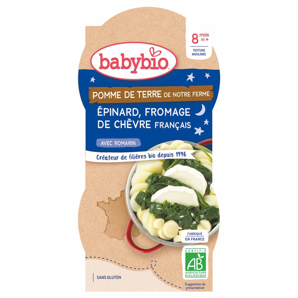 Babybio - Bols de pomme de terre épinard chèvre 2 x 200g - Dès 8 mois