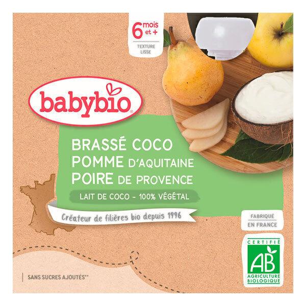 Babybio - Gourde brassée au lait de coco pomme poire dès 6 mois - 4x85g