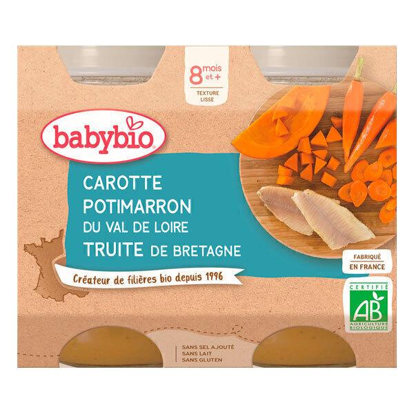 Babybio - Petits pots carotte potimarron truite 2 x 200g - Dès 8 mois