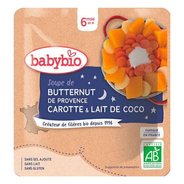 Babybio - Soupe de butternut carotte lait de coco dès 6 mois - 190g