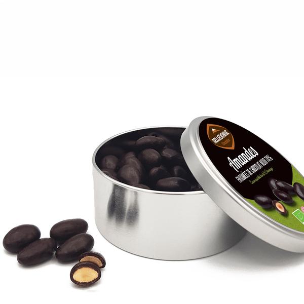 Belledonne - Boite métal Amandes au chocolat noir 74% 200g