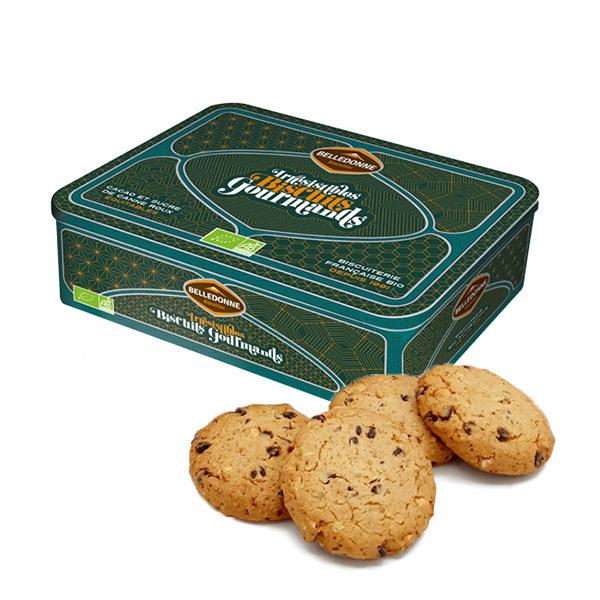 Belledonne - Boite métal Cookie vegan chocolat, noisettes et amandes 350g