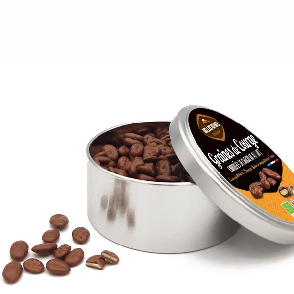 Belledonne - Boite métal Graines de courge au chocolat au lait 200g