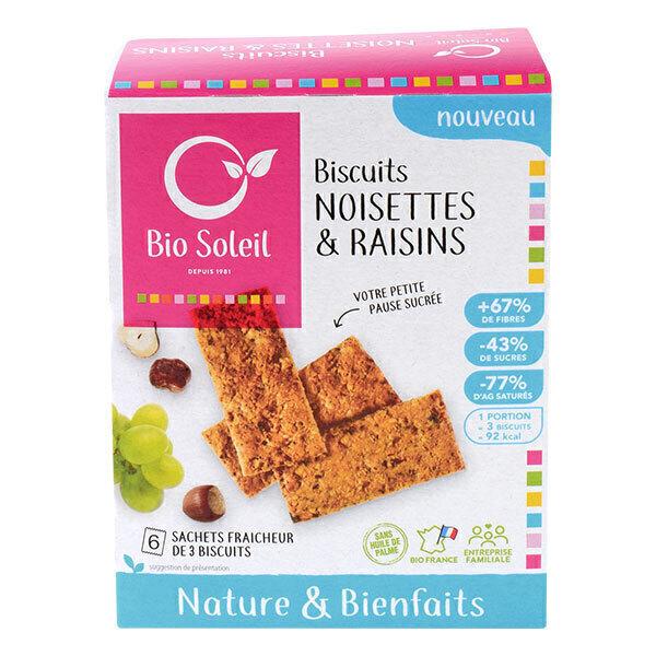 Bio Soleil - Biscuits nature & bienfaits aux Noisettes et Raisins 130g