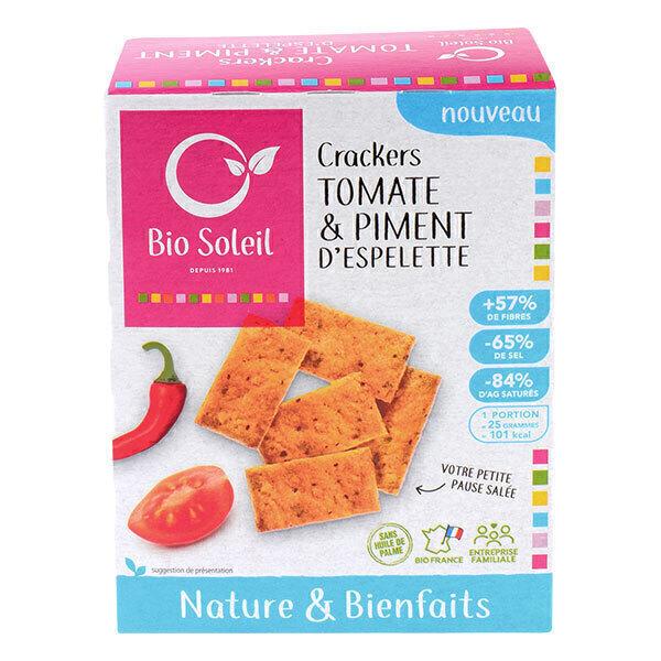 Bio Soleil - Crackers nature & bienfaits Tomates et piment d'Espelette 100g