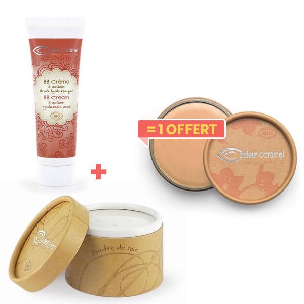 Couleur Caramel - 1BB crème doré +1Poudre de soie achetés,1 anti-cernes offert