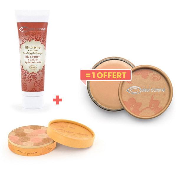 Couleur Caramel - 1BB crème or+Poudre Claire achetés,1anti-cernes offert