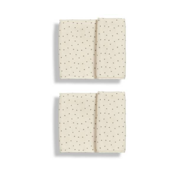 Gloop - 2 Langes Mousseline Coton bio 100x100 Natural