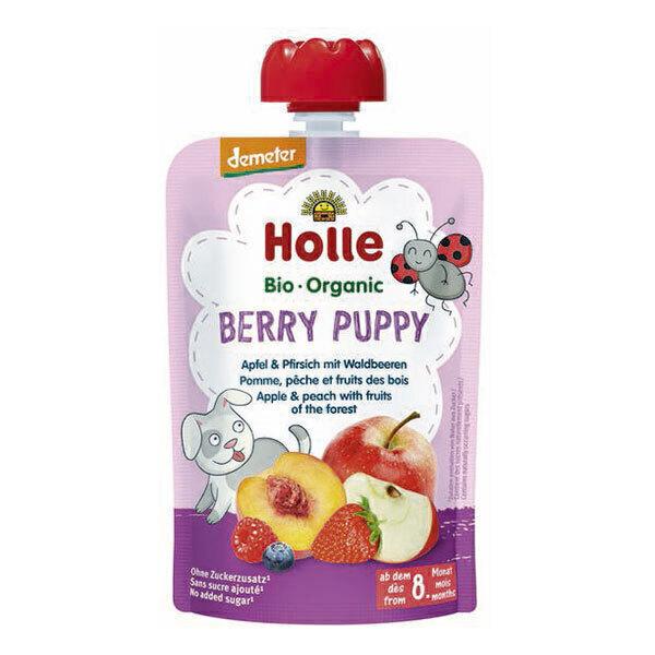 Holle - Gourde Berry Puppy pomme, pêche et fruits des bois 100g