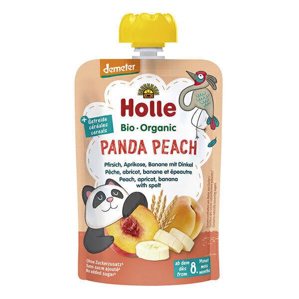 Holle - Gourde Panda Peach pêche, abricot, banane, épeautre 100g