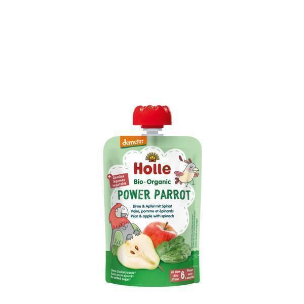 Holle - Gourde Power Parrot poire, pomme et épinards 100g
