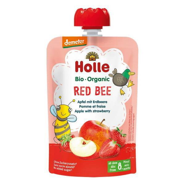Holle - Gourde Red Bee pomme fraises 100g