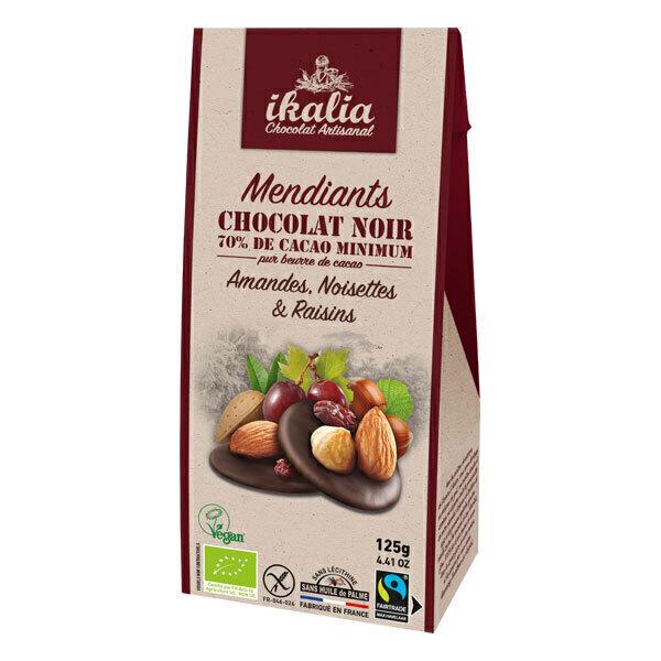 Ikalia - Mendiants chocolat noir amande, noisette, raisin sec 125g