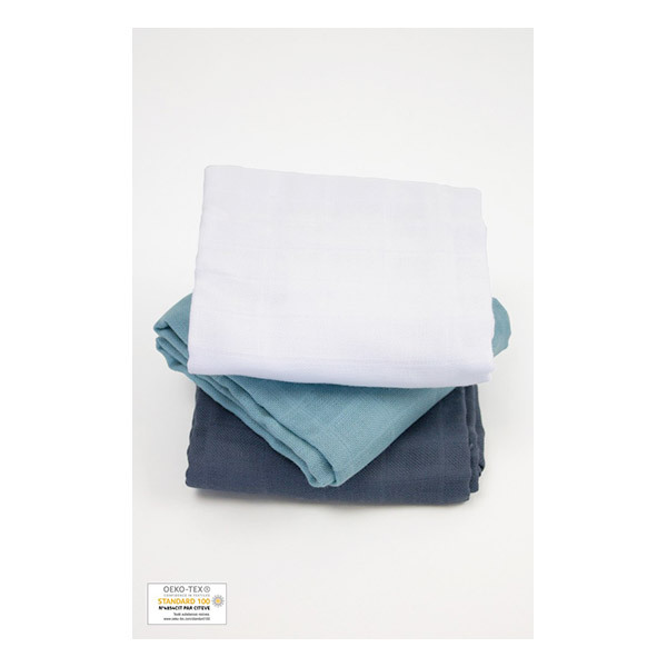 Kadolis - Lot 3 langes coton bio Bleu ardoise 60x60cm