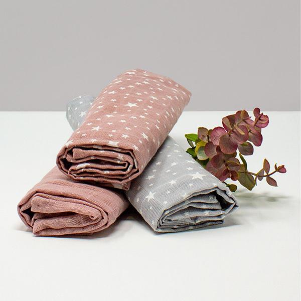 Kadolis - Lot 3 langes coton bio Etoiles Rose poudré 60x60cm
