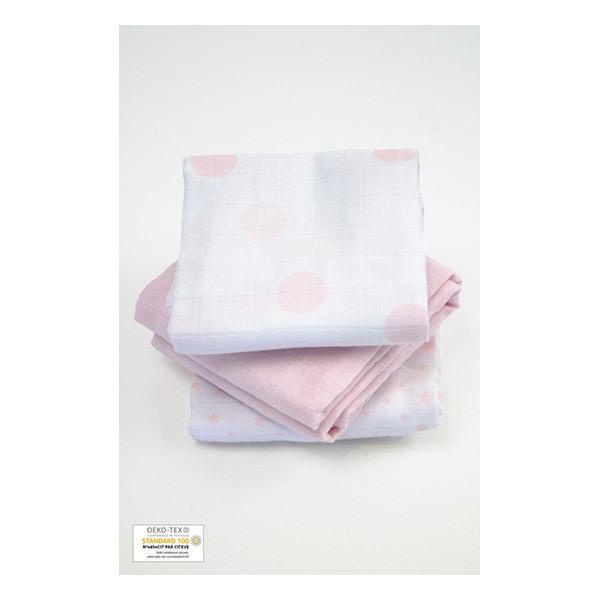 Kadolis - Lot 3 langes coton bio imprimés Rose pâle 60x60cm