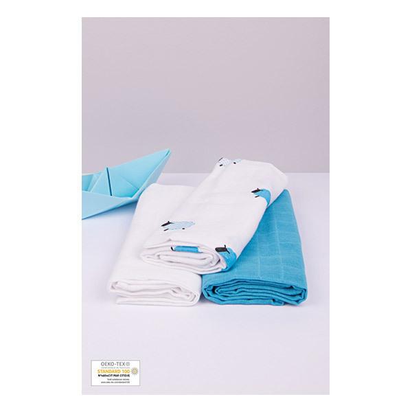 Kadolis - Lot 3 langes coton bio Moutons Bleu 70x70cm