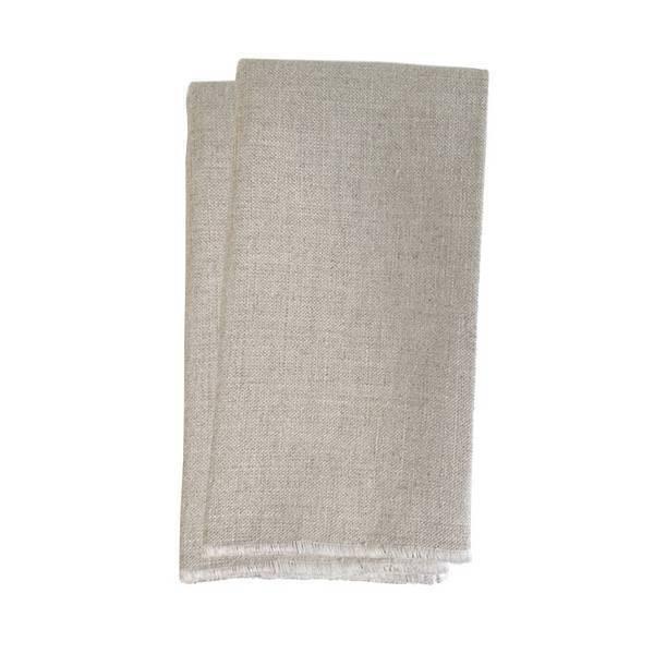 Koshi - Lot de 2 serviettes de table surjet blanc 35 x 35cm