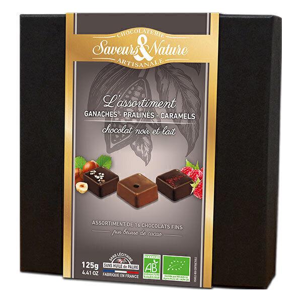 Saveurs & Nature - Coffret ganaches, pralinés, caramels chocolat noir et lait 125g