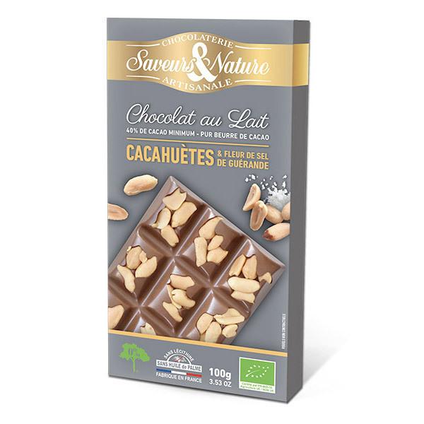 Saveurs & Nature - Tablette chocolat lait 40% aux cacahuètes salées 100g