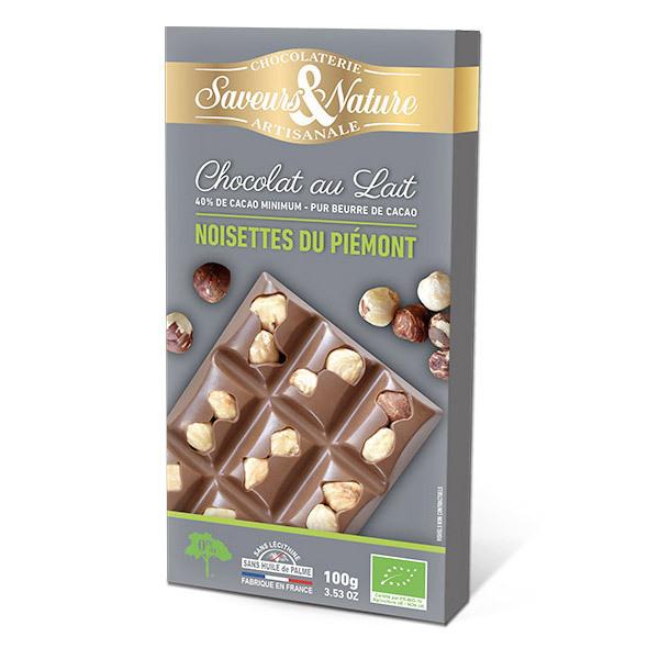 Saveurs & Nature - Tablette chocolat lait 40% aux noisettes entières 100g