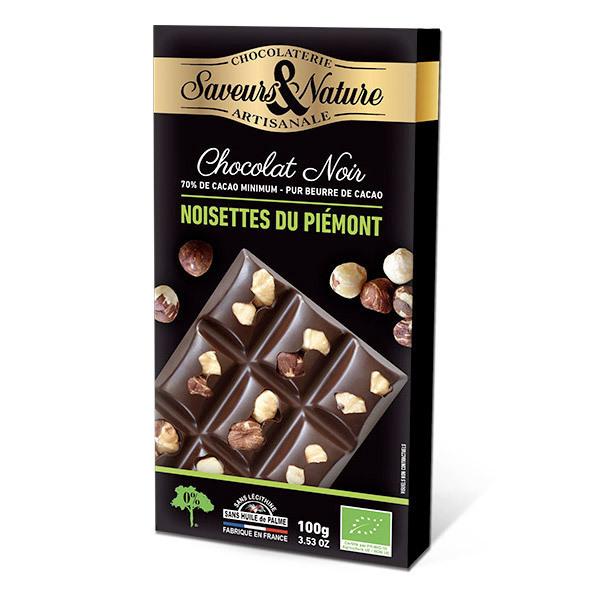 Saveurs & Nature - Tablette chocolat noir 70% aux noisettes entières 100g